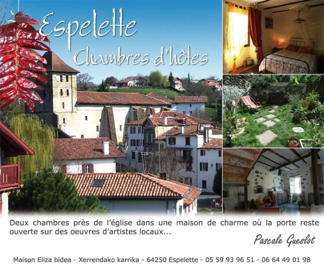 Maison eliza bidea chambre d 39 h te espelette pyrenees for Maison hote pyrenees
